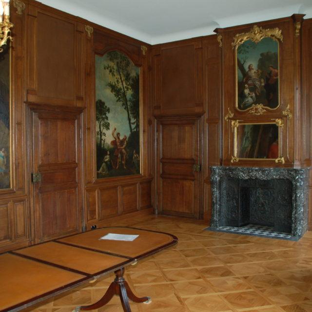 Boiserie lambris chêne Louis XIV peinture cheminée-4