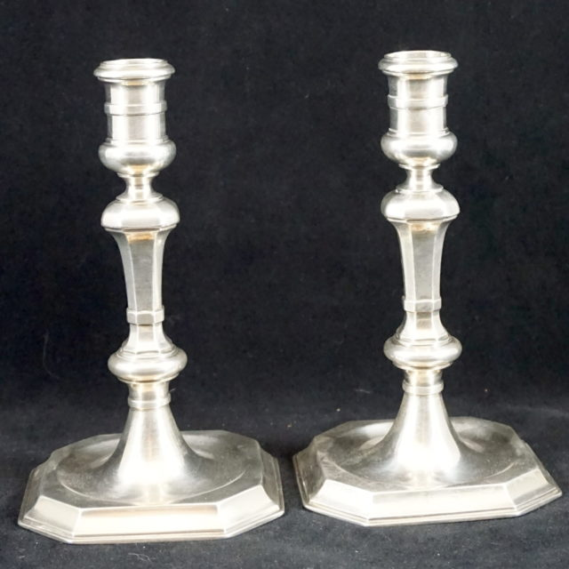 Flambeaux chandeliers argent poinçon Den Haag 1717
