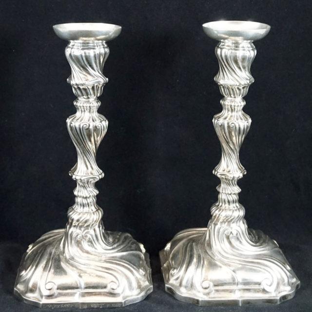Flambeaux chandeliers argent tors Louis XV poinçons Liège Grosse