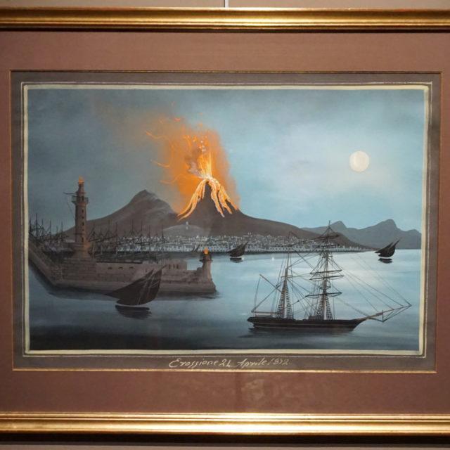 Gouache peinture tableau napolitaine Vésuve 1842