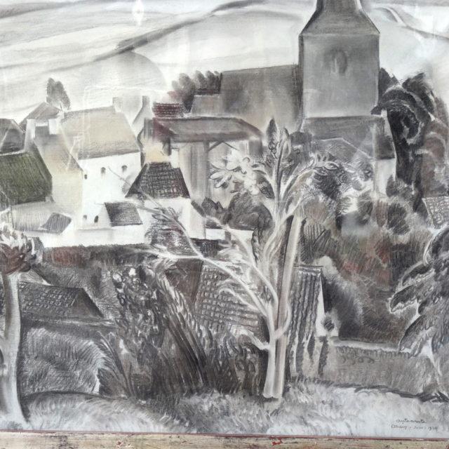 Peinture Anto-Carte pastel Ohain vue paysage