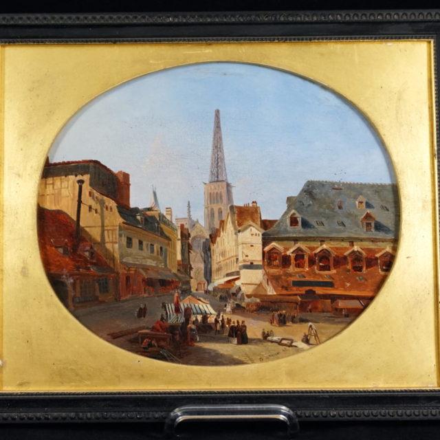 Peinture tableau Van Moer vue de ville