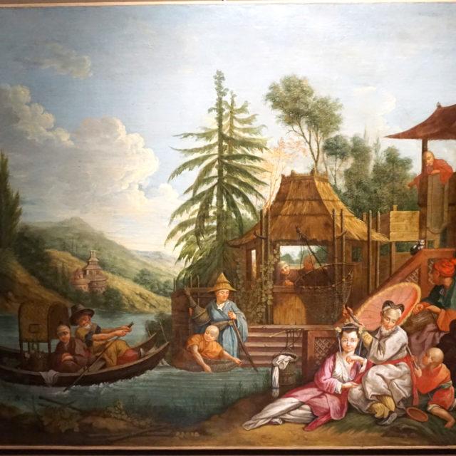 Peinture tableau huile chinoiserie Bouchez Jean-Baptiste le Prince 18e