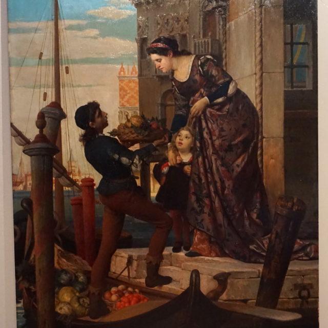 Peinture tableau jeune marchand Venise gondole van der Ouderaa Antwerpen Anvers
