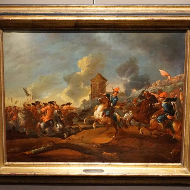 Peinture tableau scène bataille Morgenstern école allemande