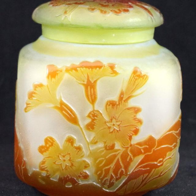 Pot couvert pâte de verre Gallé fleurs art-nouveau