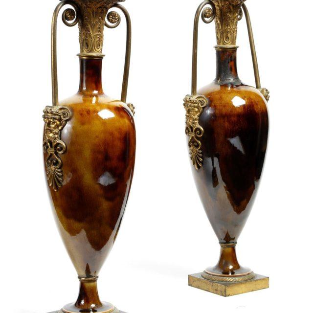 Vase fuseaux porcelaine Dihl Thomire bronze doré empire