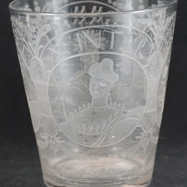Vase verre gravé quatre saisons XVIIIe