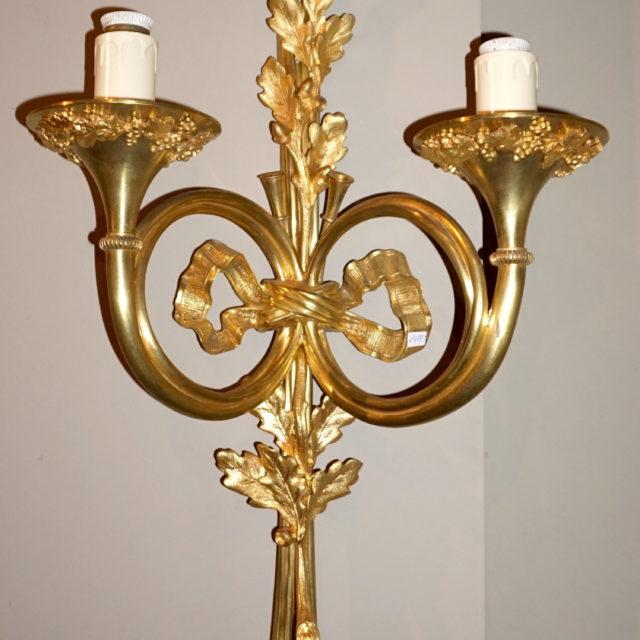 Applique bronze doré cor de chasse 19e