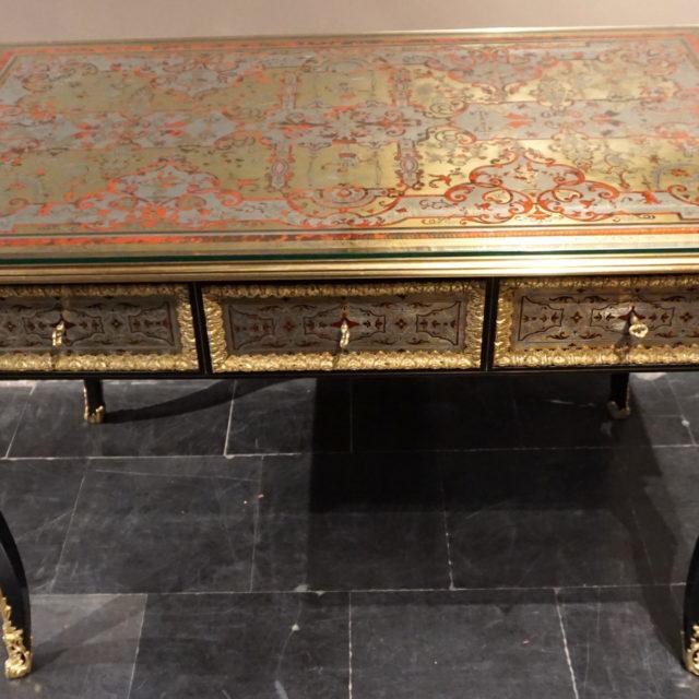 Bureau plat marqueterie Boulle écaille laiton étain cuivre bronze doré Napoléon III