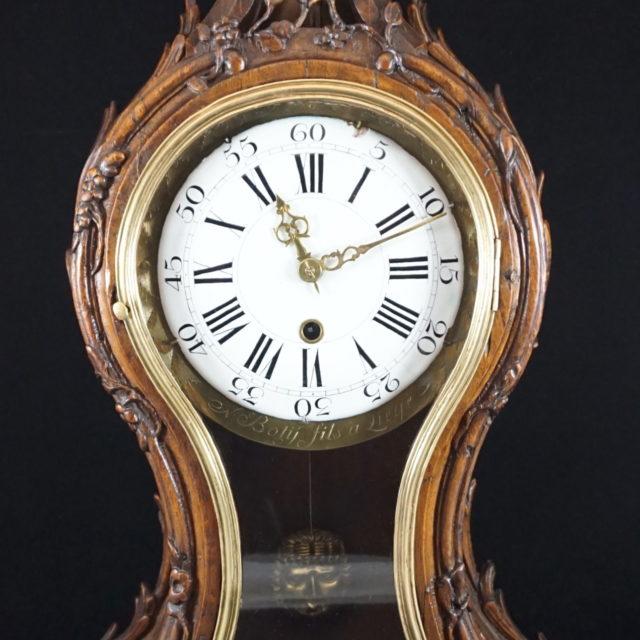Cartel pendule horloge chêne sculpté Liège Botÿ Louis XV