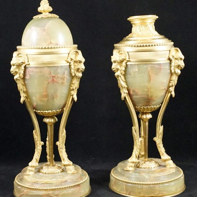 Cassolettes onyx bronze doré empire