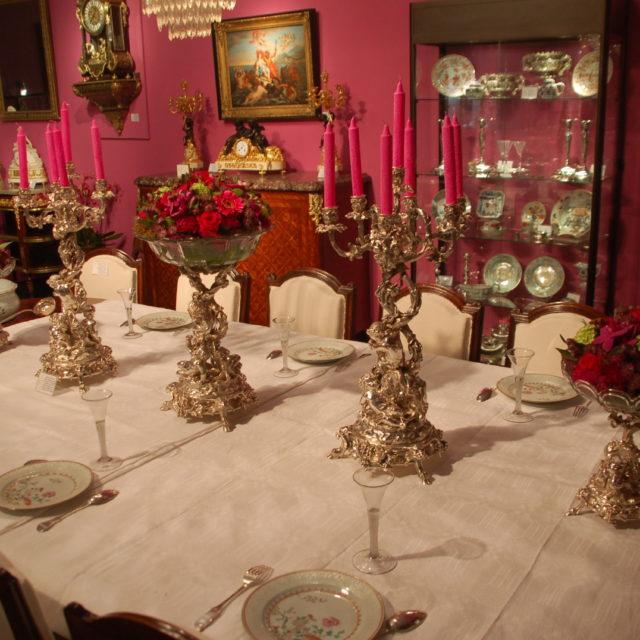 Centre de table surtout candélabre coupe putti métal argenté Christofle cristal