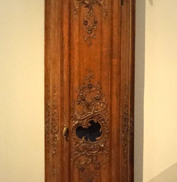 Gaine d'horloge pendule chêne sculpté Liège Valentini signée