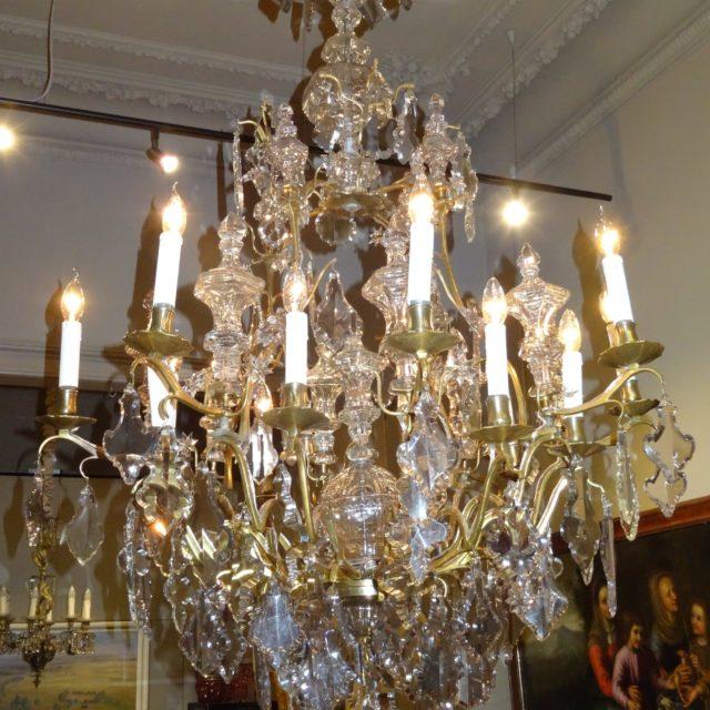 Lustre cagé cristal bronze doré époque Louis XV 18e-1