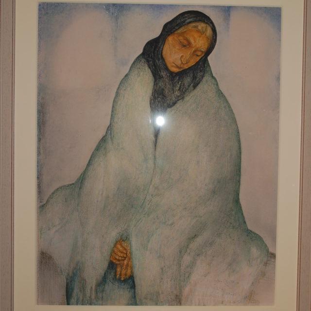 Peinture Anto-Carte Mons pastel vieille femme