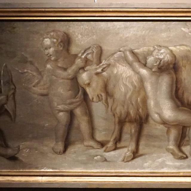 Peinture tableau grisaille putti 19e