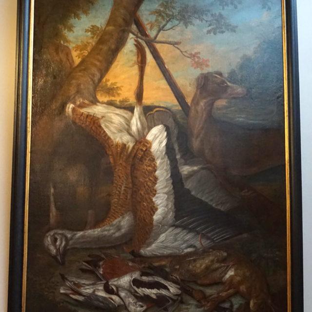 Peinture tableau trophée chasse outarde Allemagne 17e
