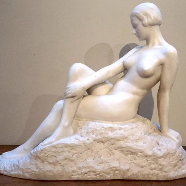Sculpture femme art-déco marbre César Bataille