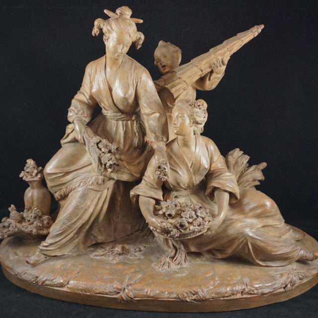 Sculpture groupe terre cuite chinois 18e