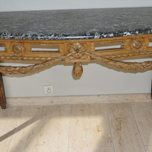 Table gibier patiné Louis XVI-1